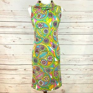 Vintage 60's Mod Psychedelic Neon Shift Dress